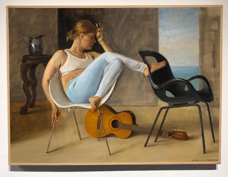 Ashley with Guitar, Female Lounging on a Tom Vac Chair, Original Oil on Panel - Painting by Andrew S. Conklin