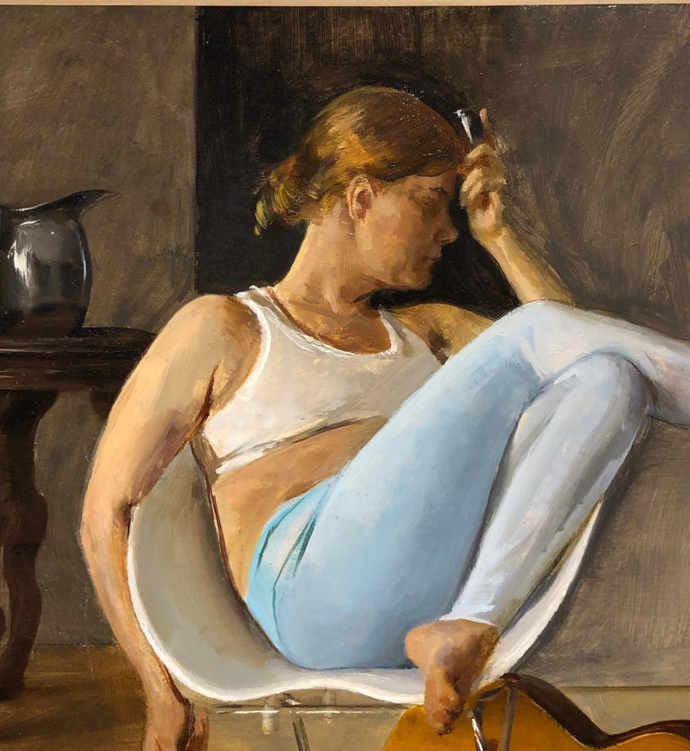 Ashley with Guitar, Female Lounging on a Tom Vac Chair, Original Oil on Panel - Contemporary Painting by Andrew S. Conklin