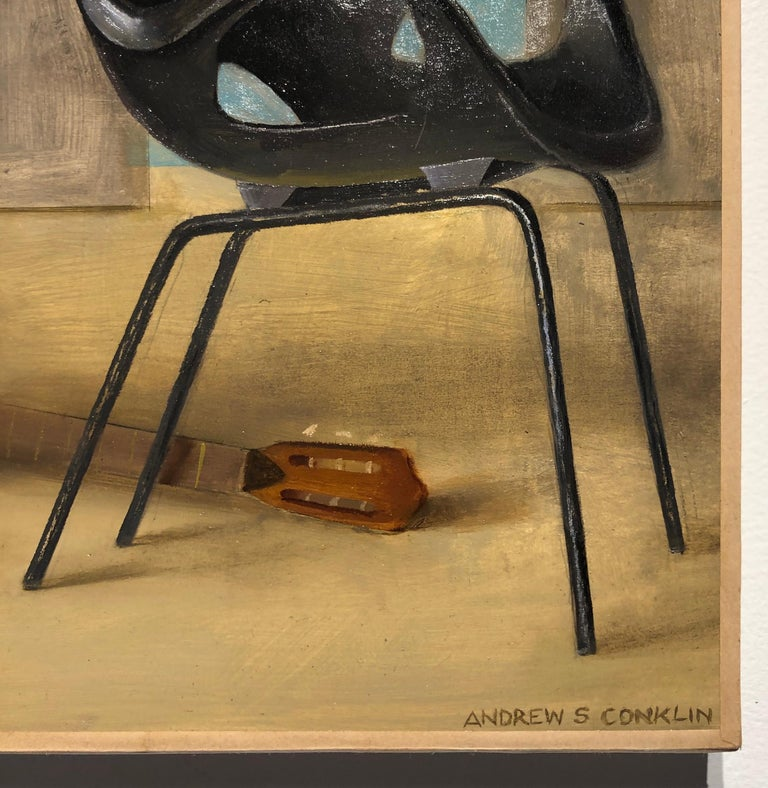 Ashley with Guitar, Female Lounging on a Tom Vac Chair, Original Oil on Panel - Brown Figurative Painting by Andrew S. Conklin