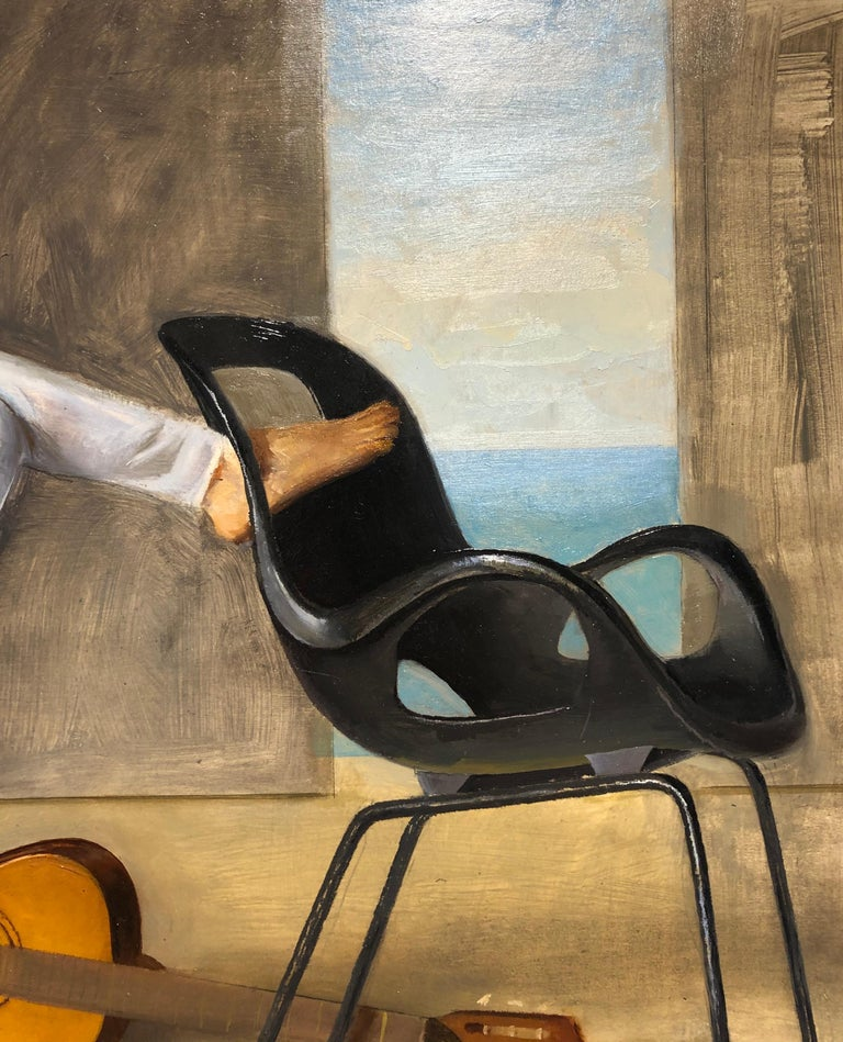 Classically trained artist, Andrew Conklin, has captured the moment just before or just after the subject, Ashley, has laid down her guitar.  She is seated on a Tom Vac Chair while the empty Oh Chair suggests someone has just walked out of our