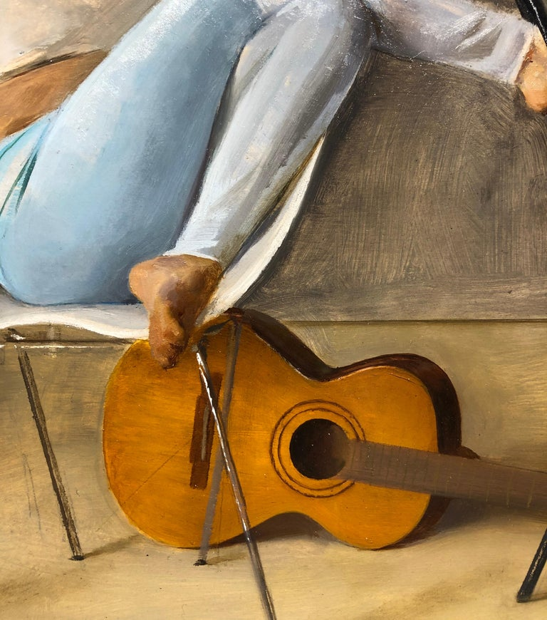 Ashley with Guitar, Female Lounging on a Tom Vac Chair, Original Oil on Panel For Sale 1