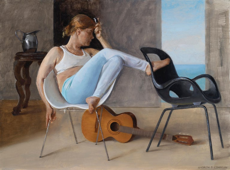 Andrew S. Conklin Figurative Painting - Ashley with Guitar, Female Lounging on a Tom Vac Chair, Original Oil on Panel