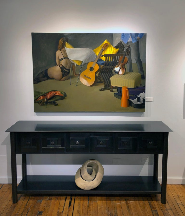 Duet II - Still Life with Guitar, Violin and Scantily Clad Woman, Oil on Linen - Contemporary Painting by Andrew S. Conklin