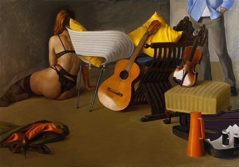 Andrew S. Conklin Figurative Painting - Duet II - Still Life with Guitar, Violin and Scantily Clad Woman, Oil on Linen
