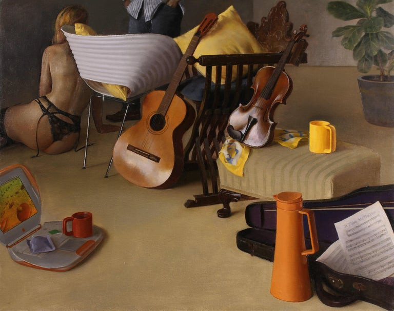 Andrew S. Conklin Interior Painting - Duet I - Still Life with Guitar, Violin and Scantily Clad Woman, Oil on Linen