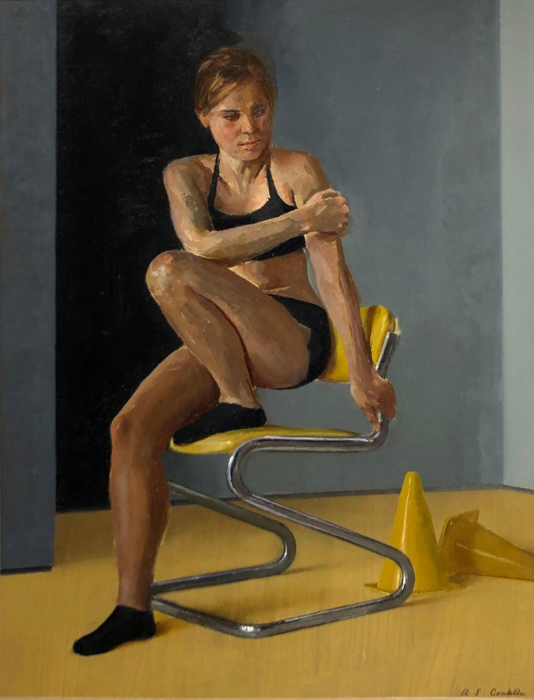 Andrew S. Conklin Nude Painting - Maro on Chrome and Yellow Vinyl Modern Side Chair - Original Oil Painting