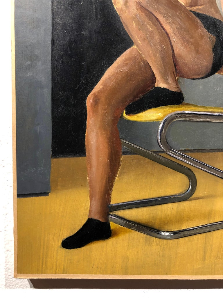 Maro on Chrome and Yellow Vinyl Modern Side Chair - Original Oil Painting For Sale 5