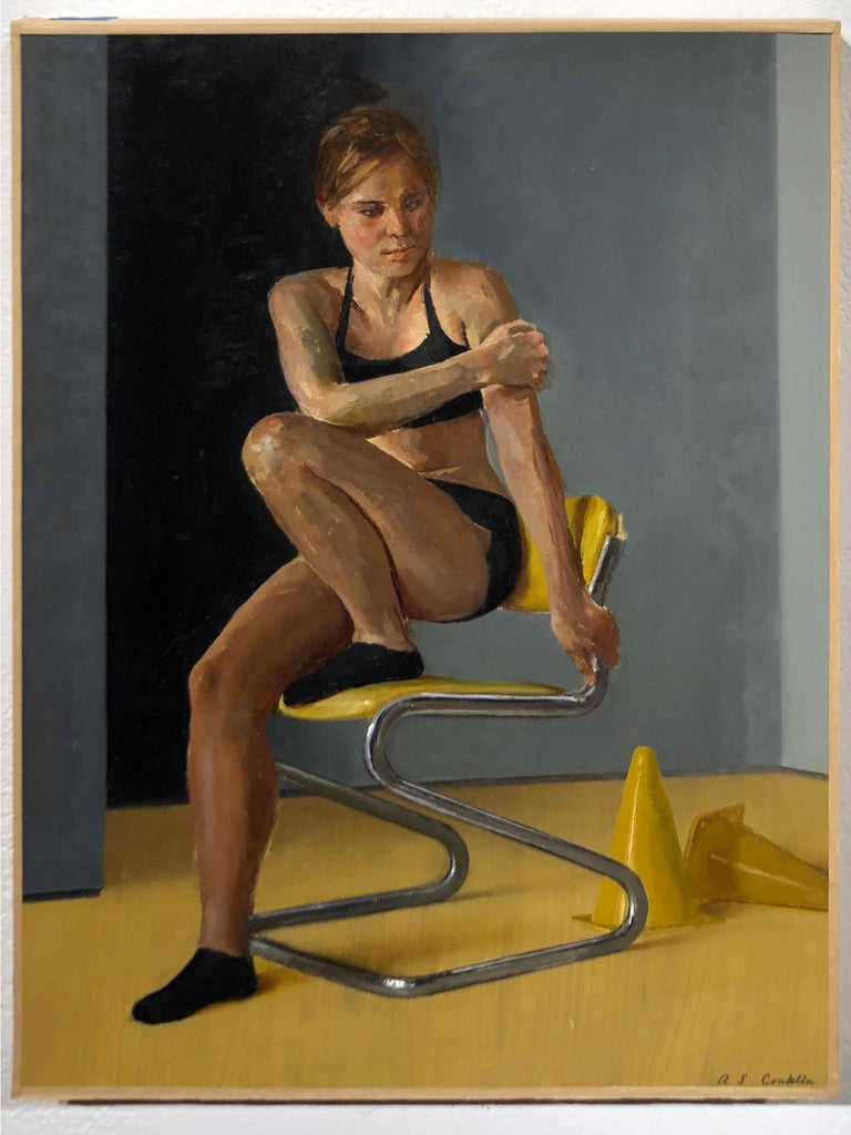 Maro on Chrome and Yellow Vinyl Modern Side Chair - Original Oil Painting - Black Nude Painting by Andrew S. Conklin