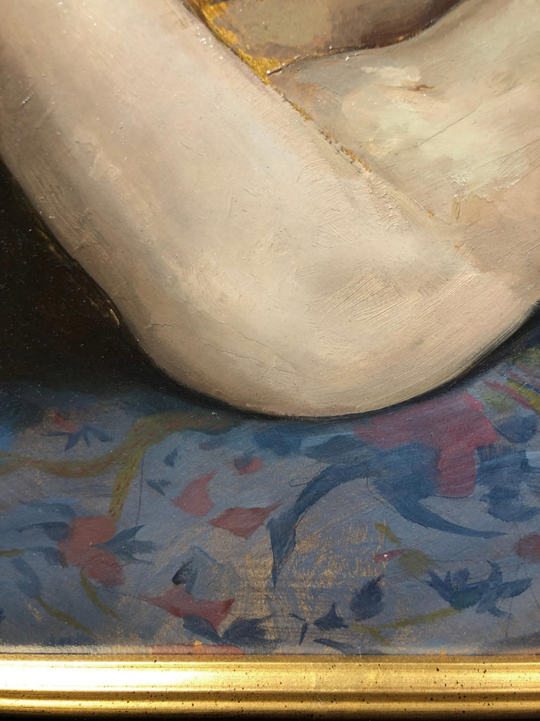Maureen Reclining - Original Oil Painting, Nude Female in Slippers, Lush Fabrics For Sale 7