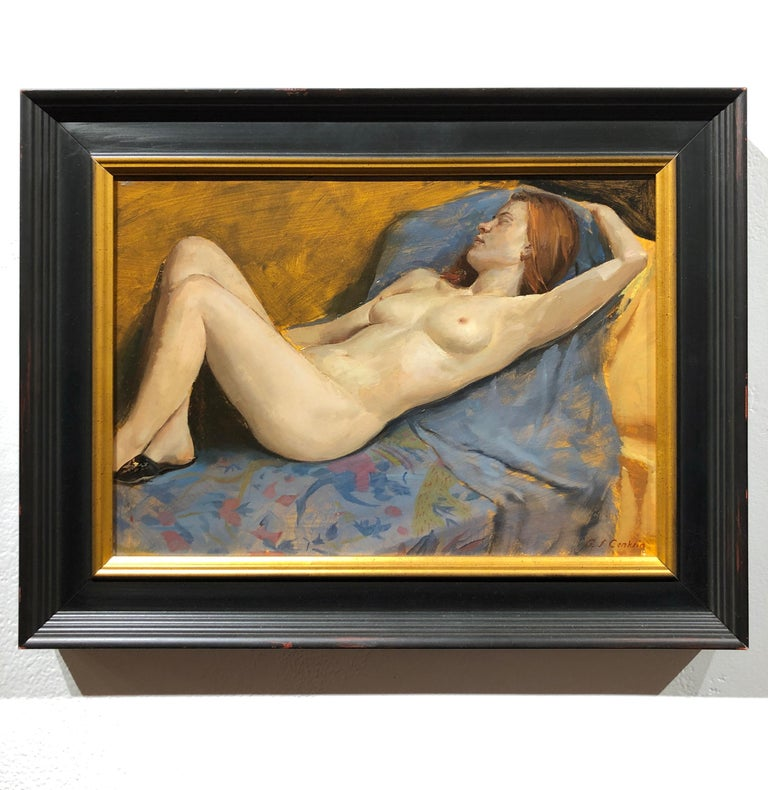 Maureen Reclining - Original Oil Painting, Nude Female in Slippers, Lush Fabrics - Brown Nude Painting by Andrew S. Conklin