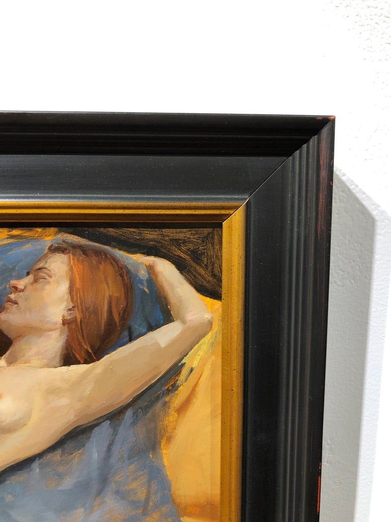 Maureen Reclining - Original Oil Painting, Nude Female in Slippers, Lush Fabrics For Sale 2