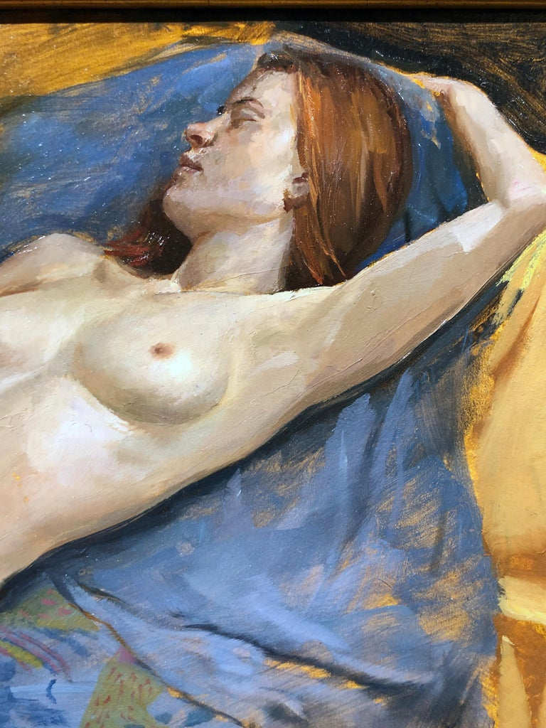 Maureen Reclining - Original Oil Painting, Nude Female in Slippers, Lush Fabrics For Sale 3