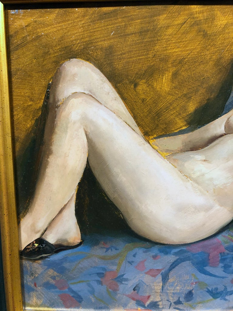 Maureen Reclining - Original Oil Painting, Nude Female in Slippers, Lush Fabrics For Sale 4