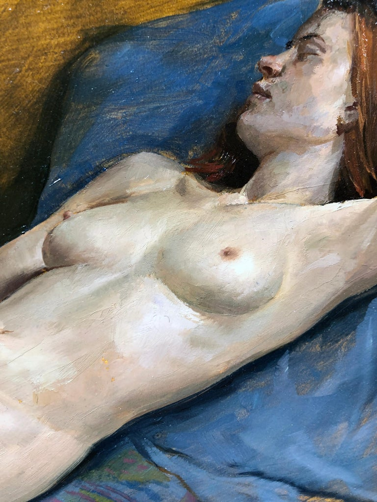 Maureen Reclining - Original Oil Painting, Nude Female in Slippers, Lush Fabrics For Sale 6