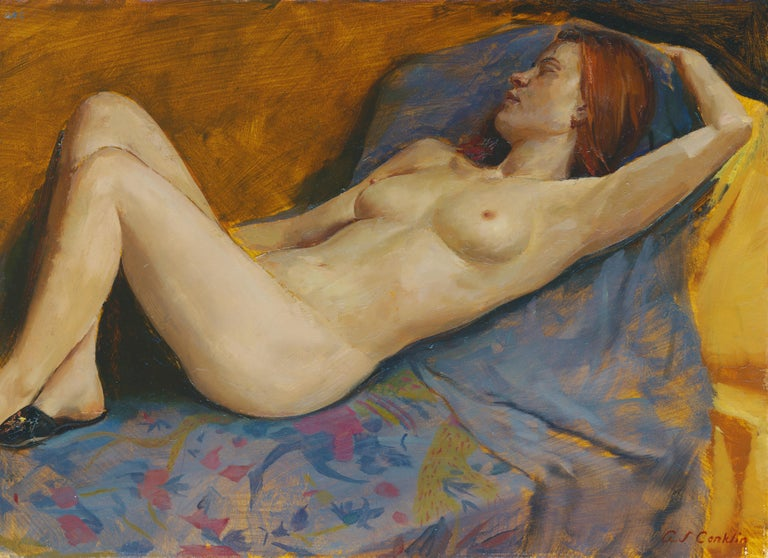 Andrew S. Conklin Nude Painting - Maureen Reclining - Original Oil Painting, Nude Female in Slippers, Lush Fabrics