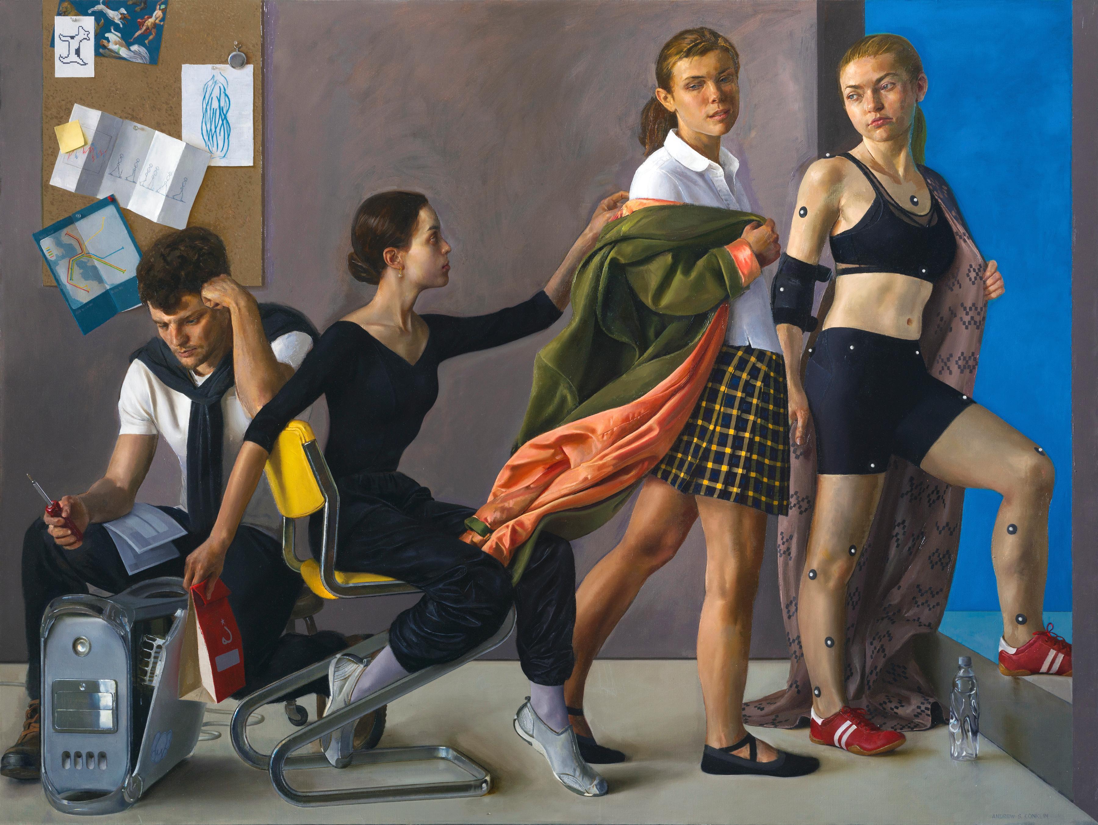 Motion Capture Studio 7 - Original Oil on Linen Painting with Multiple Figures