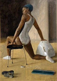 Nina with iMac Snow, Female Dancer Stretching on Chair with Bended Knee