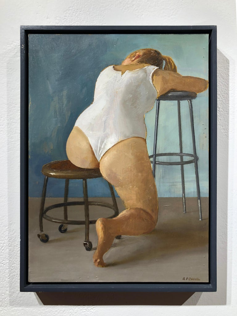 Paige Seated in White Leotard - Original Oil Painting Study with Female on Stool - Gray Figurative Painting by Andrew S. Conklin