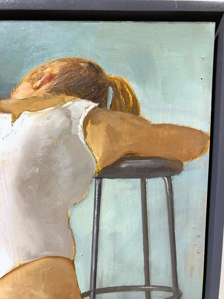 Paige Seated in White Leotard - Original Oil Painting Study with Female on Stool For Sale 4