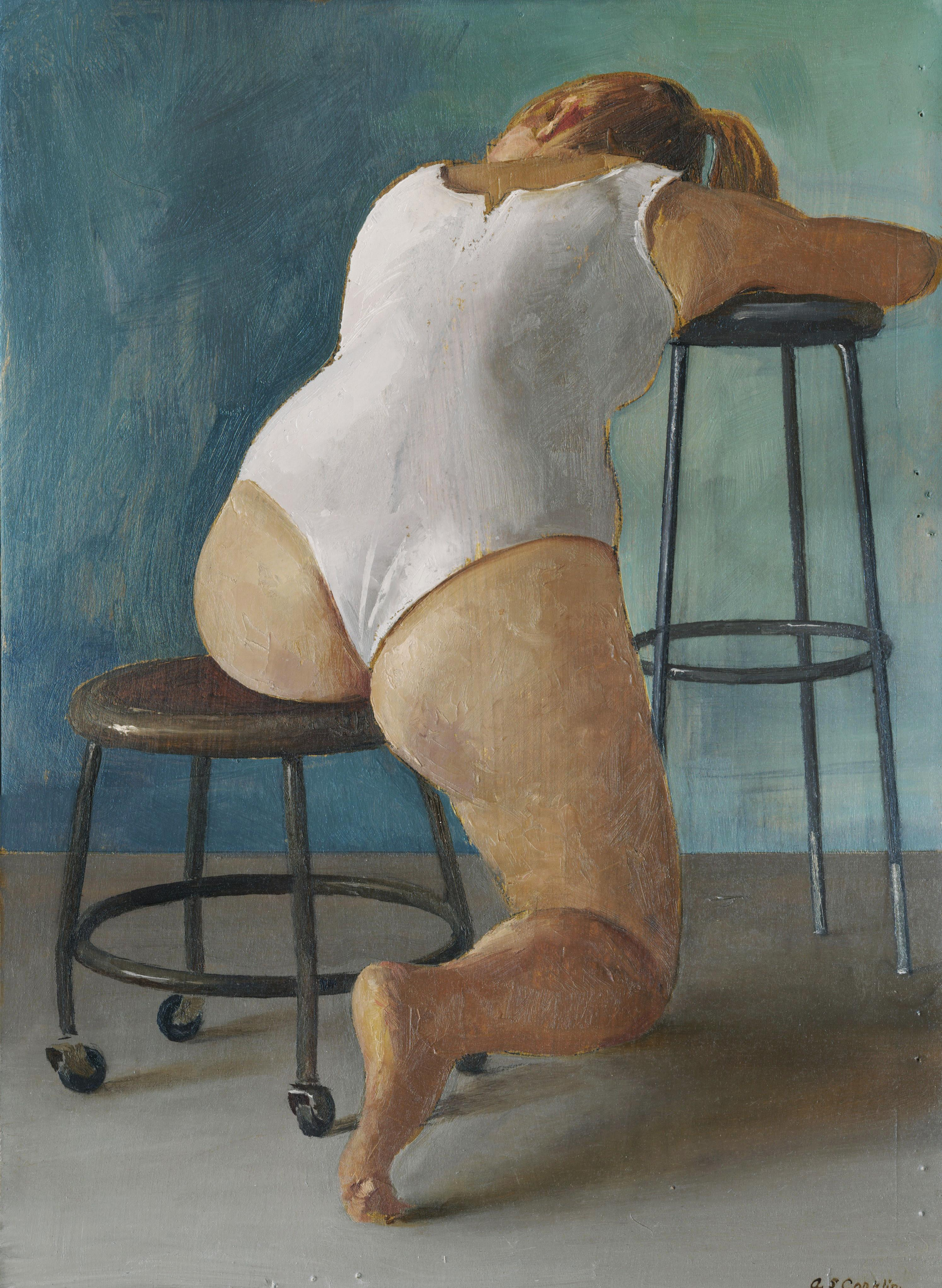 Paige Seated in White Leotard - Original Oil Painting Study with Female on Stool