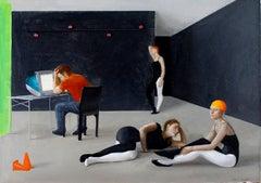 Small Motion Capture Studio, Three Female Dancers Awaiting Instruction, Framed