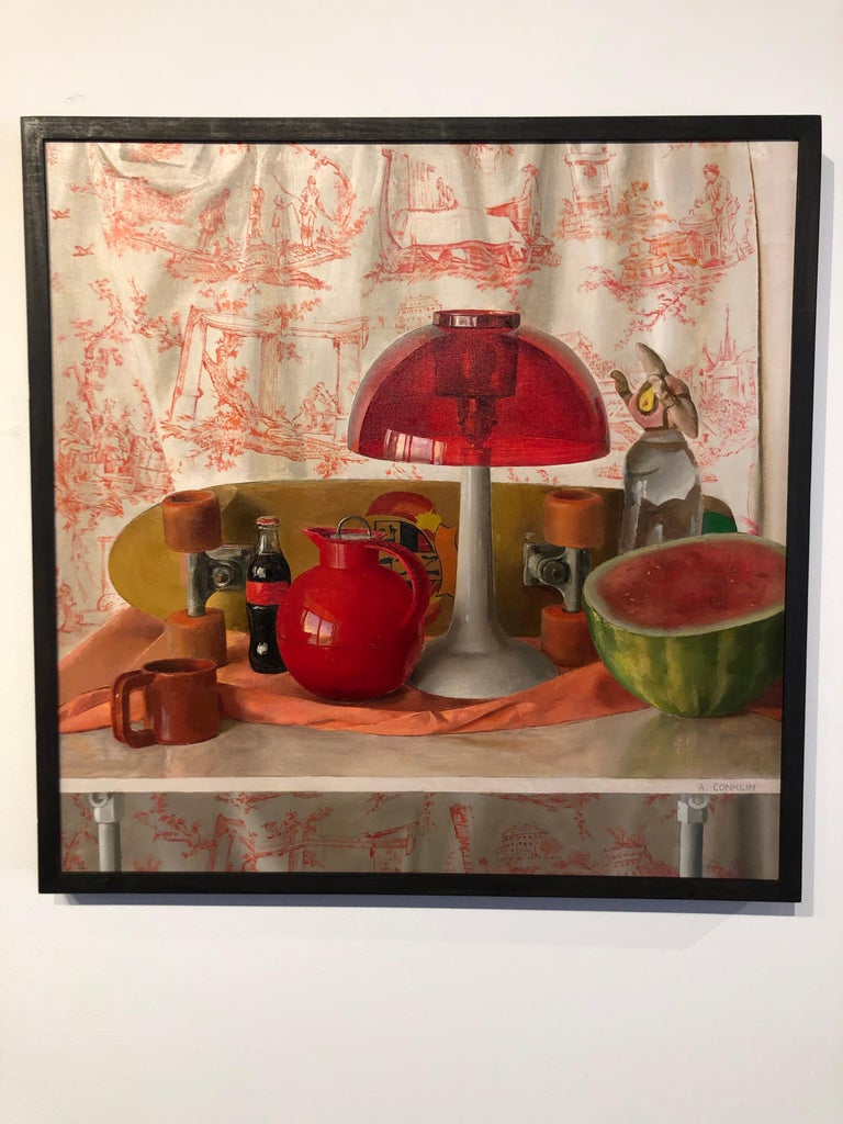 Andrew S Conklin Square Red Still Life Original Oil
