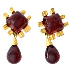 Andrew Springarn Glass & Gold Plated Dangle Earrings Clip On