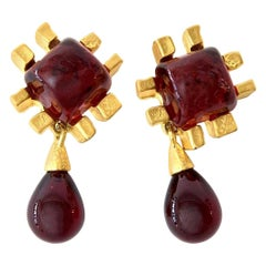 Andrew Springarn Gripoix Glass & Gold Plated Clip on Dangle Earrings