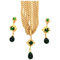 Andrew Springarn Sculptural Necklace and Earrings Set Signed