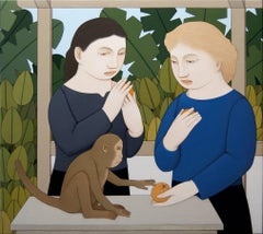 Two Women Feeding a Monkey
