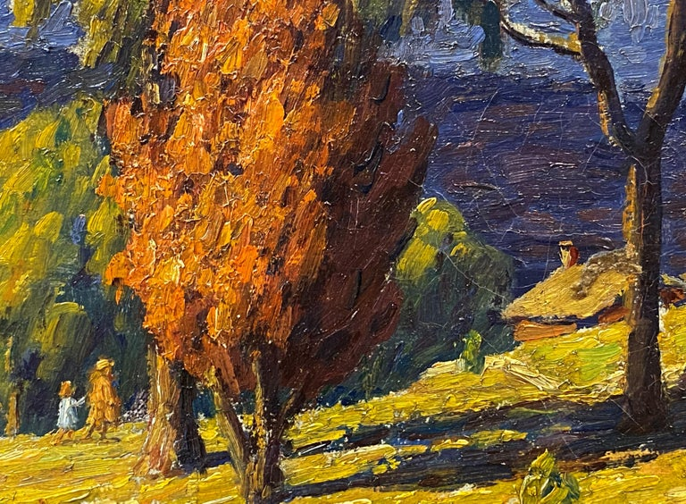 A fine autumn landscape by American artist Andrew Thomas Schwartz (1867-1942). Schwartz was born in Louisville, Kentucky and began his art study with the famed Frank Duveneck at the Cincinnati Art Academy.  He later studied with H. Siddons Mowbray