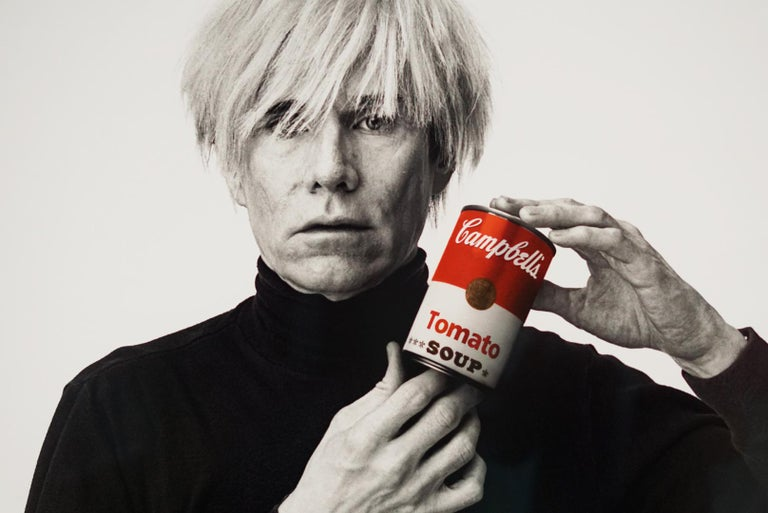 Andrew Unangst, Warhol with Campbell's Soup Can (1985) - Gray Portrait Photograph by Andrew Unangst