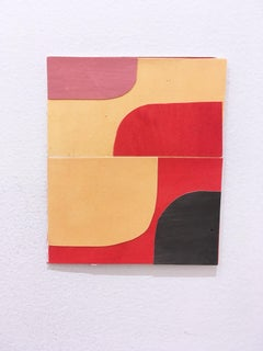 Scaled to Size 14, 2018, collage, acrylic on paper, red, pink, yellow