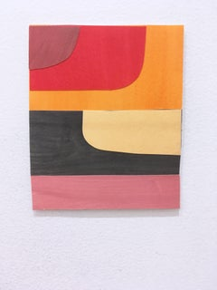 Scaled to Size 15, 2018, collage, acrylic on paper, red, pink, brown, yellow