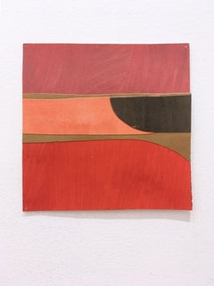 Scaled to Size 16, 2018, collage, acrylic on paper, red, pink, brown, orange