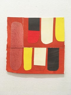 Scaled to Size 18, 2018, collage, acrylic on paper, yellow, pink, red, white