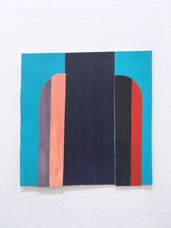 Scaled to Size 27, collage, acrylic, paper, blue, red, teal, pink, abstract