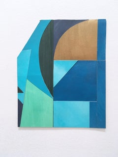 Scaled to Size 28, collage, acrylic, paper, blue, green, teal, brown, abstract
