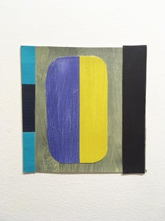 Scaled to Size 5, 2018, collage, acrylic on paper, blue, purple, yellow