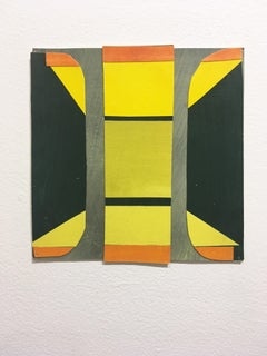 Scaled to Size 8, 2018, collage, acrylic on paper, green, orange, yellow