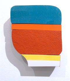 Blue Top, liquid plastic, acrylic, wood wall sculpture, abstract geometric