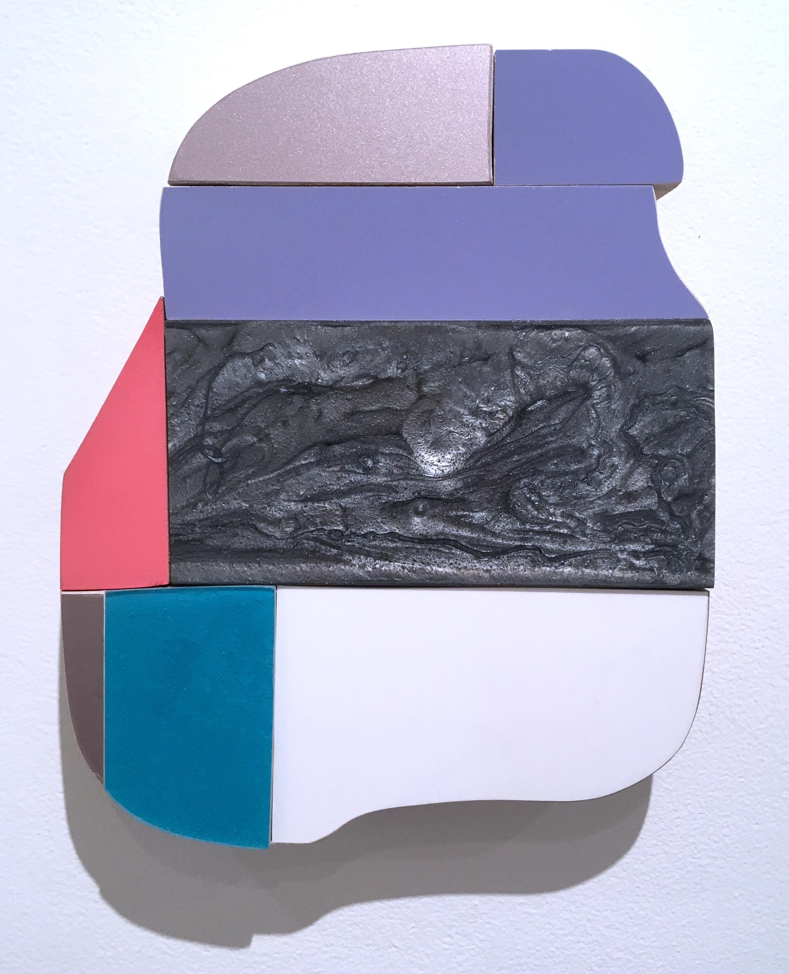 Marble, wall sculpture,  liquid plastic, acrylic, wood, abstract geometric