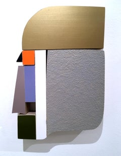 Profile, wood, wall sculpture, acrylic, purples, texture, abstract geometric