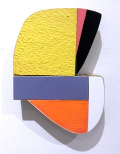 This and That, wood, wall sculpture, acrylic, yellow, pastels,abstract geometric