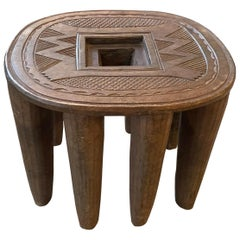 Andrianna Shamaris African Mahogany Wood Antique Side Table or Stool