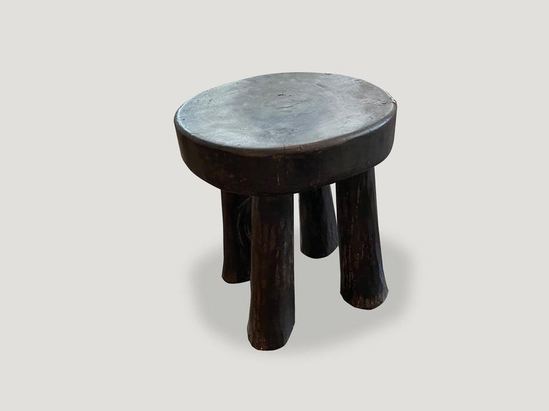 Ivorian Andrianna Shamaris African Wood Side Table or Stool