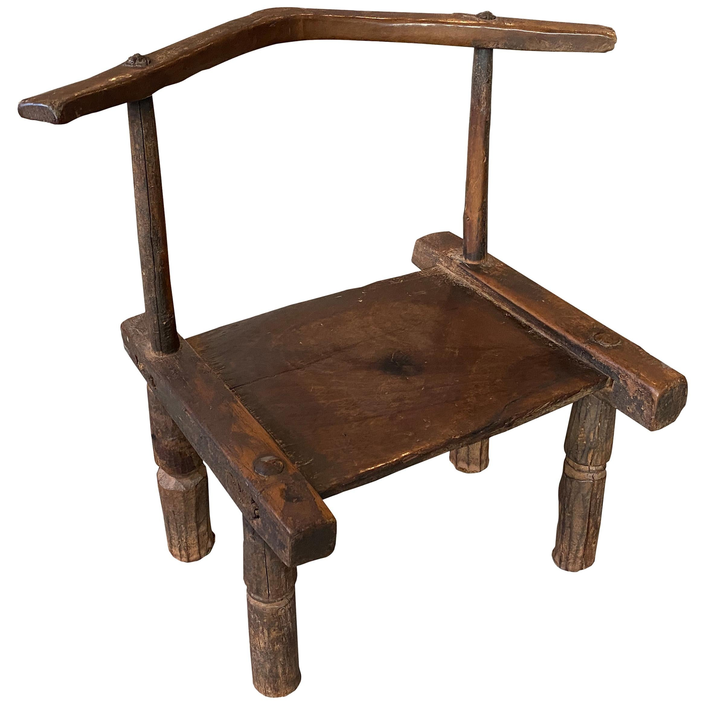 Andrianna Shamaris African Wooden Chair or Side Table, Ivory Coast