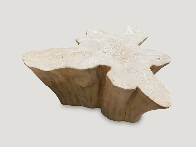 Reclaimed bleached teak with a light white wash, amorphous coffee table. A slight graduation from the bottom to the top.   The St. Barts collection features an exciting new line of organic bleached, white wash and natural weathered teak furniture.