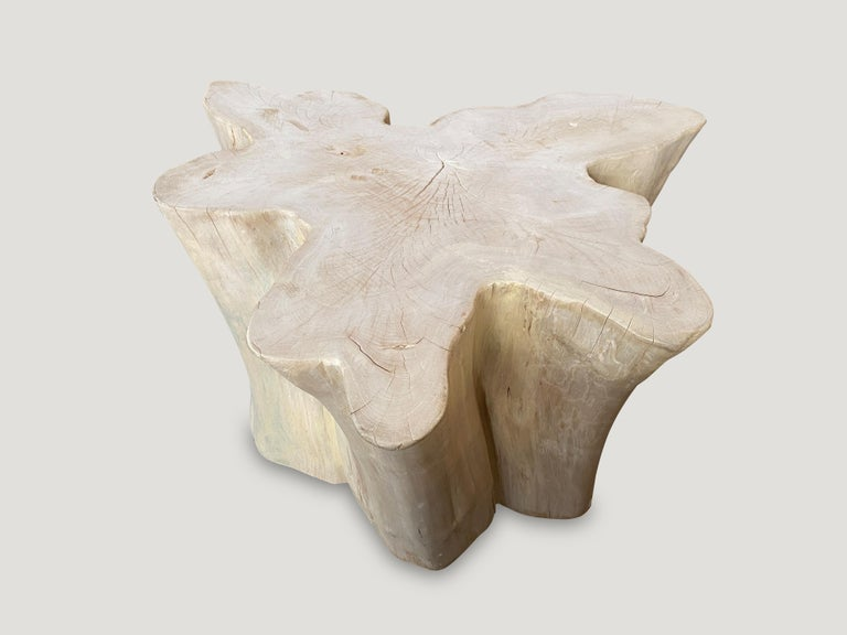 Contemporary Andrianna Shamaris Amorphous Bleached Teak Wood Coffee Table For Sale