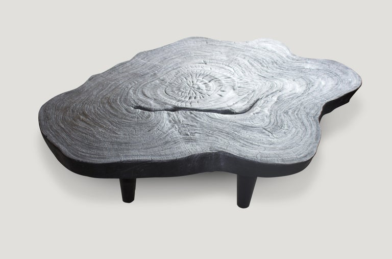 Organic Modern Andrianna Shamaris Amorphous Charred Teak Wood Coffee Table For Sale